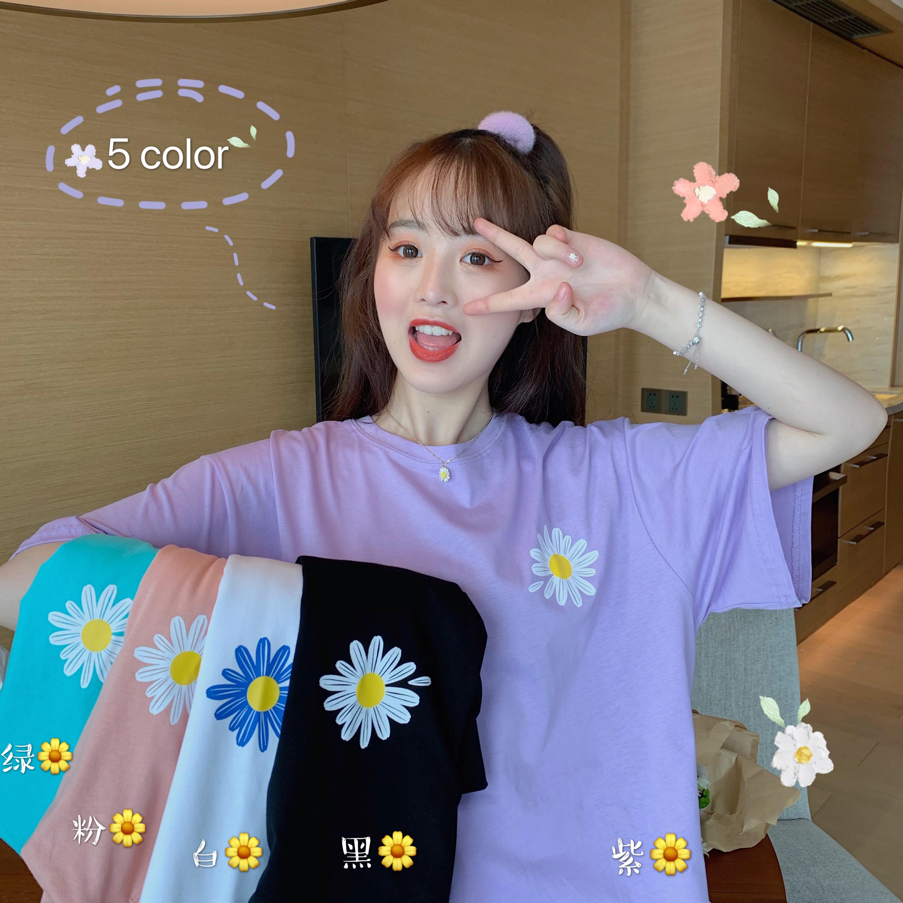 2020夏季新款原创韩版紫色少女菊花印花百搭宽松短袖T恤t恤女长袖