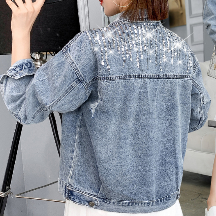 2021 spring new embroidered Sequin stripe Denim Jacket Womens European station personalized bead jacket fashion
