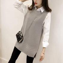 加肥加大码女装套装韩版胖mm春秋长袖衬衣+套头针织马甲两件套潮