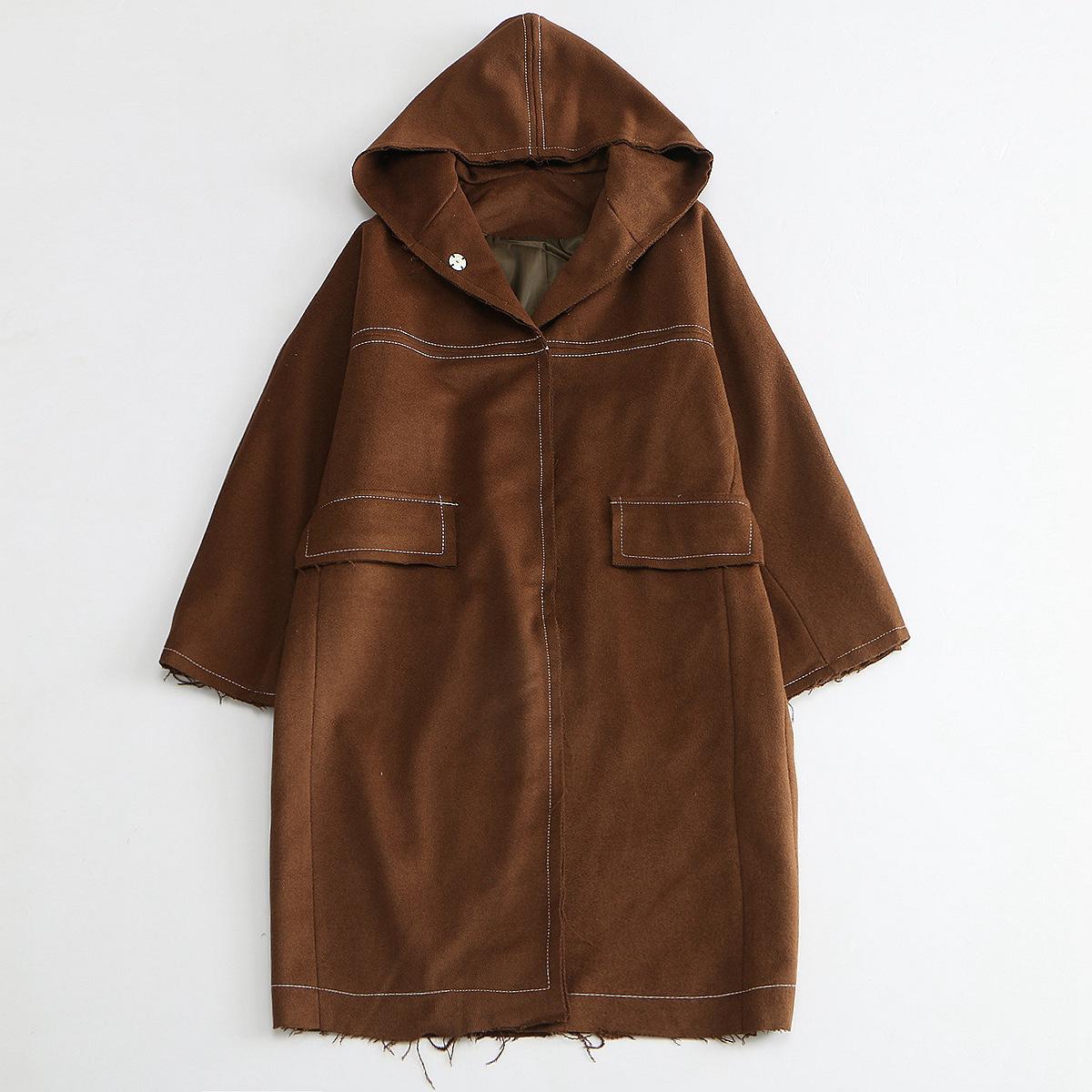 Qingmei ripe loyal dog retro hooded woolen coat female cloak Han Qiudong student woolen coat