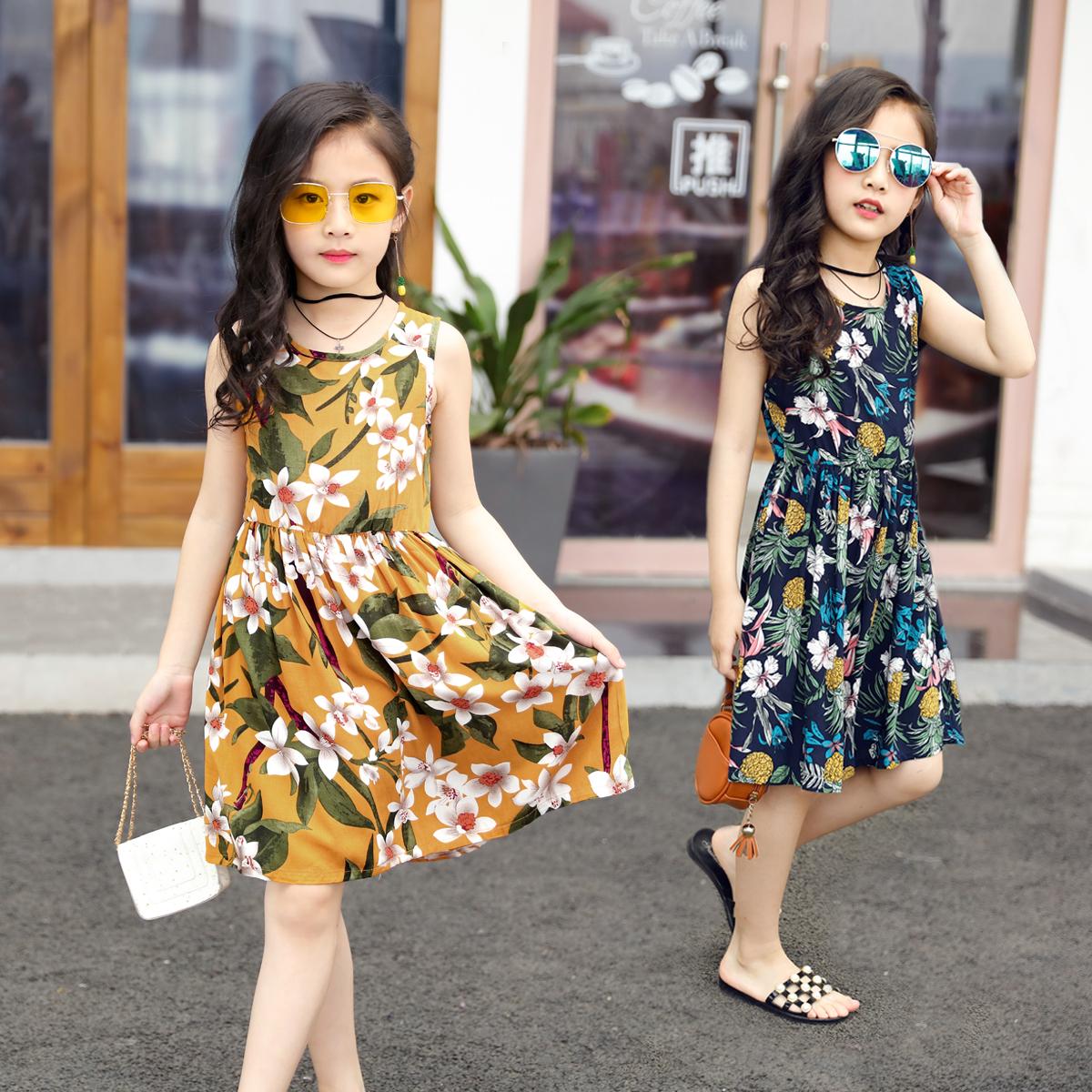 女童纯棉连衣裙中小童女孩人造棉夏天棉绸裙子童装薄款透气沙滩裙