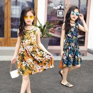 女童纯棉连衣裙中小童人造棉沙滩裙