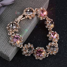 韓國超閃水鉆復古手鏈女時尚水晶手飾品禮物網紅手鐲森系手環手圈