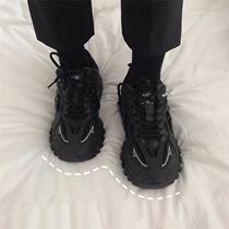 2020春季新款全黑色运动鞋女百搭街拍学生休闲鞋厚底老爹鞋ins潮