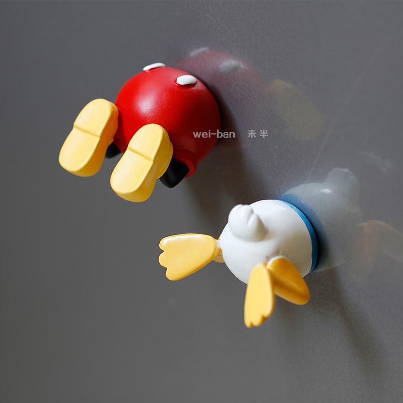 新品半身动物冰箱贴米奇磁贴 唐老鸭吸铁石创意立体维尼熊磁性贴