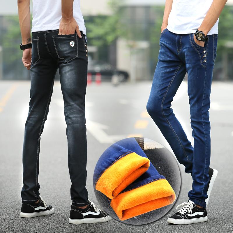 秋季新款牛仔裤男士修身小脚裤青少年弹力韩版潮黑色加绒长裤子男