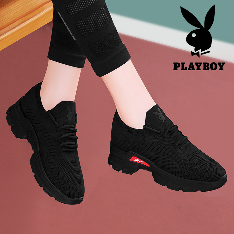 Playboy womens shoes versatile sports shoes black light running shoes 2021 new fashion casual shoes in autumn and winter