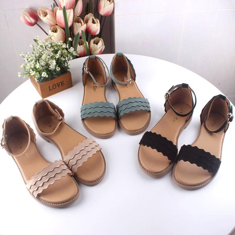 Artistic sandals! Small fresh 2018 summer suede flounced open toe flat bottom womens sandals 35-40