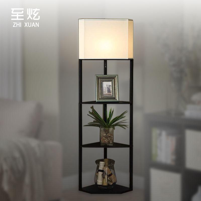 中式美式复古灯具客厅卧室床头墙角灯立式木艺照明收纳三角落地灯