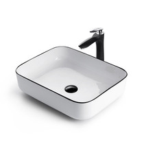 Stage Basin wash basin Nordic washbasin Ceramic Art basin home simple thin side square wash basin