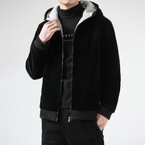 炜烨服饰灯芯绒连帽外套加绒加厚冬季保暖上衣夹克羊羔颗粒绒棉衣