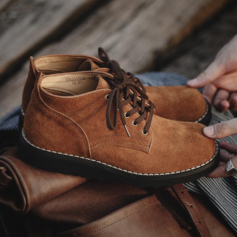 秋季经典款男士沙漠短靴复古潮流工装低帮马丁靴真皮鞋英伦风休闲