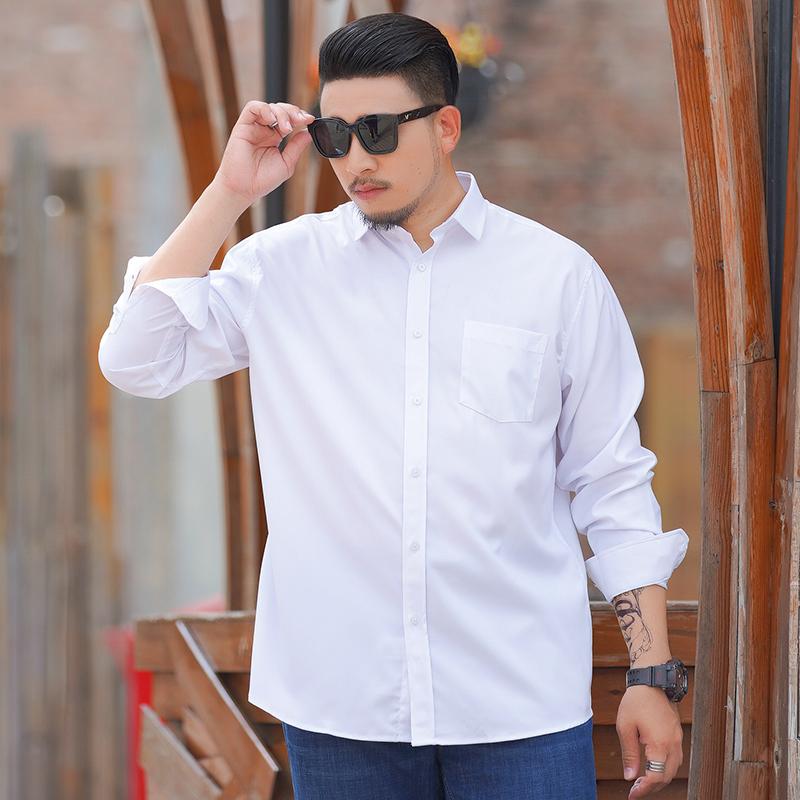 Oversize 300kg long sleeve business white shirt for men