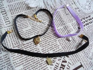 Japanese Harajuku candy stripper AMO black purple ribbon heart shaped necklace cross necklace special