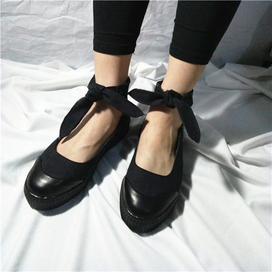 山本耀司暗黑蝴蝶結綁帶低幫帆布鞋女夏季透氣休閑鞋韓版學生板鞋