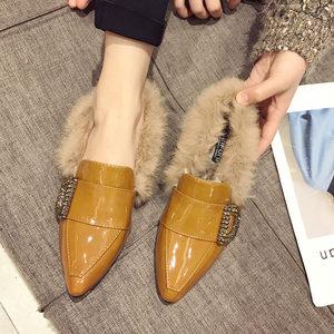 一脚蹬小皮鞋女秋冬加绒2019新款韩版外穿尖头粗跟中跟单鞋毛毛鞋