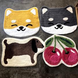 日式可爱造型地垫卡通柴犬脚垫秋田犬52*62cm  2件包邮 地毯胶底