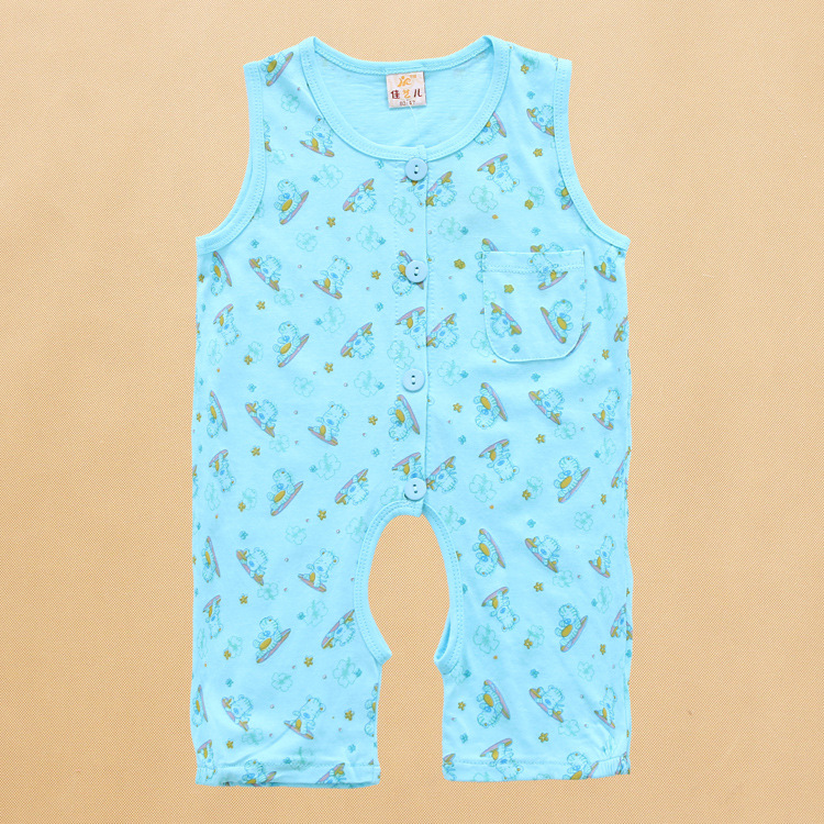 Jiayi * store authentic baby cotton printed Romper creeper, sleeveless shorts Jumpsuit
