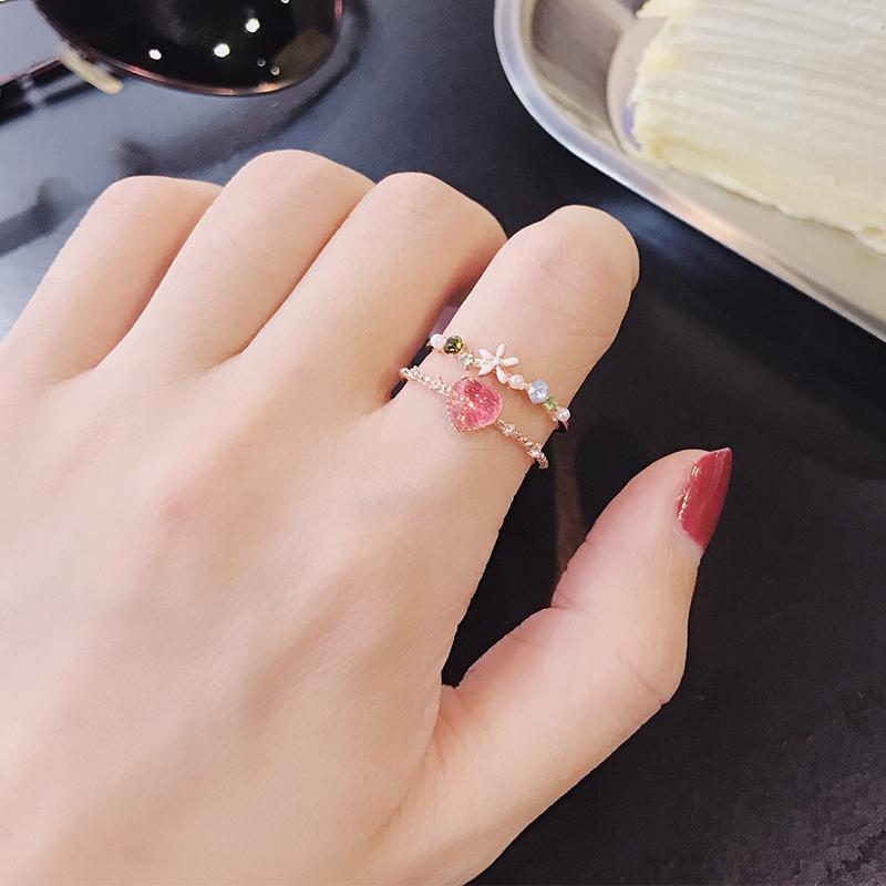 日韩甜美少女心爱心花朵糖果色指环热销166件限时抢购