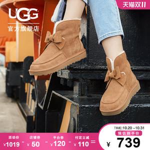 【预售】UGG2021秋冬新款女士平底蝴蝶结经典迷你短靴雪地靴
