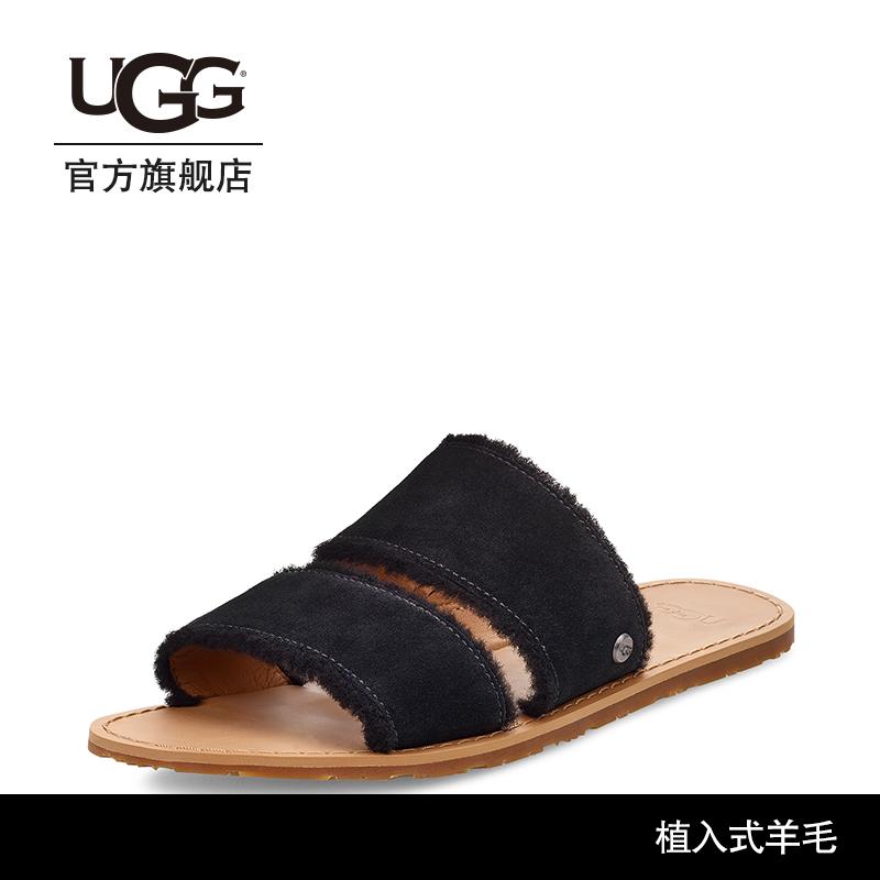 UGG2019夏季新款女士凉鞋翻毛皮溢毛款一脚蹬时尚凉拖鞋 1101036