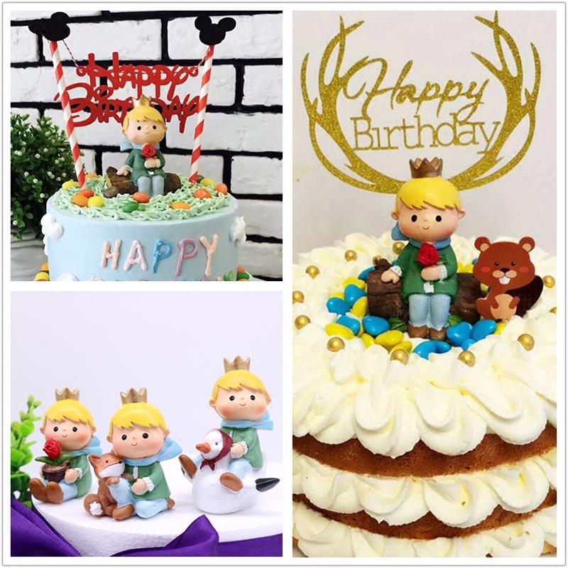 情景蛋糕卡通可爱小王子玫瑰花场景儿童生日蛋糕装饰树脂摆件公仔
