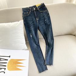 磨白磨破毛边裤脚外贸原单女装高腰显瘦铅笔裤小脚牛仔裤23423