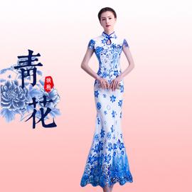 青花瓷长款修身鱼尾旗袍裙2020新款走秀演出服装礼仪复古改良宴会图片