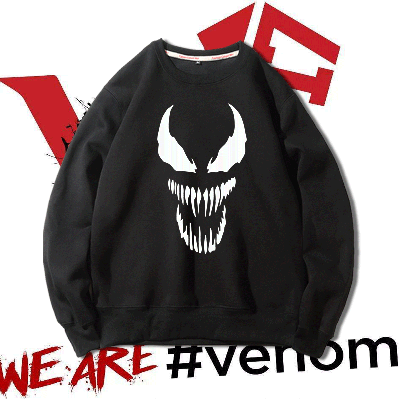 Venom Marvel cartoon peripheral long sleeve Pullover youth student clothes autumn winter coat mens and womens round neck sweater