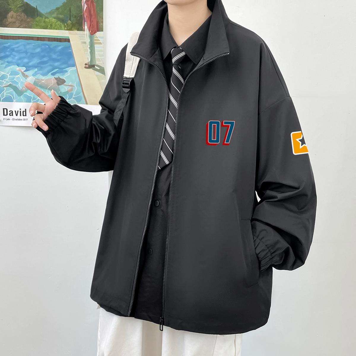 2021新款港风男式休闲简约百搭时尚印花夹克外套A110-JK813-P70