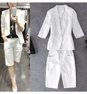 时尚套装女欧洲站大码两件套装休闲亚麻上衣短裤修身西装气质外套