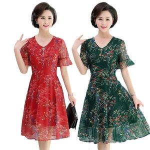 妈妈装夏季中长款短袖新款连衣裙