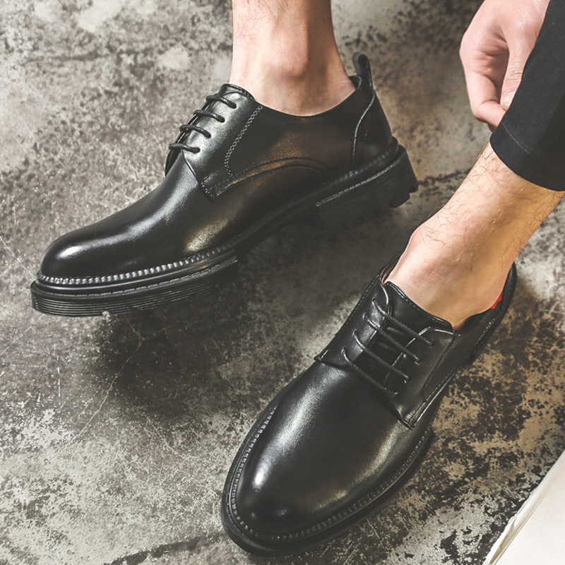 2020 mens small leather shoes formal dress Korean casual leather shoes British business trend mens shoes