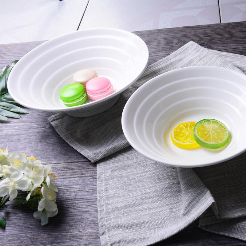 拉面碗陶瓷纯白大碗麻辣汤碗日式斗笠双线喇叭碗商用餐具LOGO定制