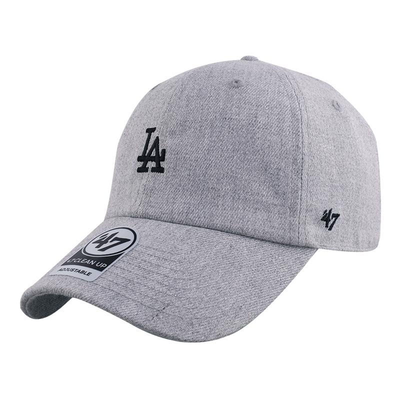 47棒球帽mlb灰色帽子女秋冬洋基队ny鸭舌帽软顶小标la弯檐帽男韩