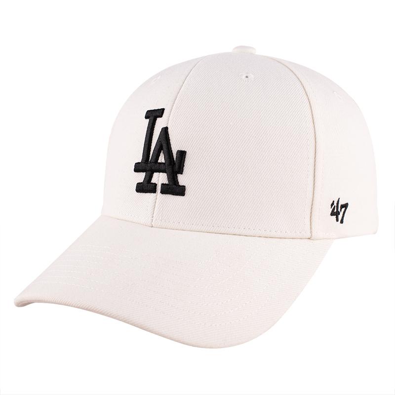 47mlb棒球帽大标男女ny帽子白色la鸭舌帽刺绣硬顶洋基队弯檐遮阳