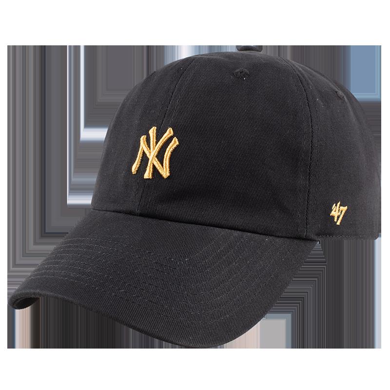 47mlb棒球男帽金标刺绣NY鸭舌帽女街头运动LA小标黑色弯檐帽子潮