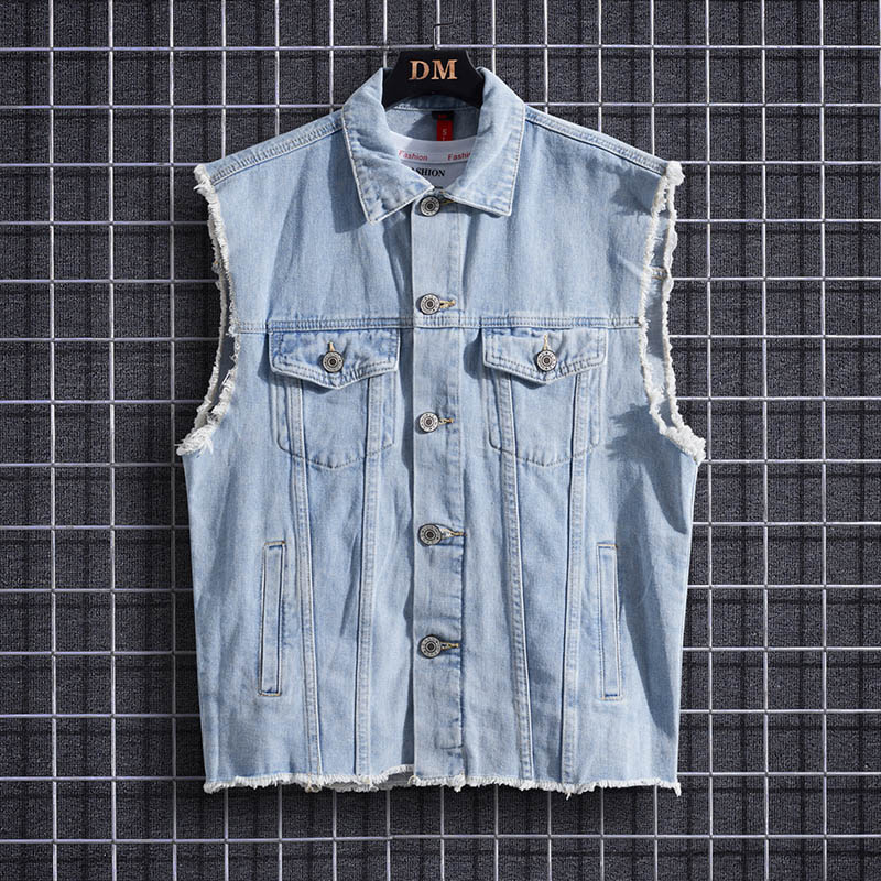 Hanging model: 6670 ? denim vest, mens denim jacket, sleeveless jacket, loose waistcoat, Camille