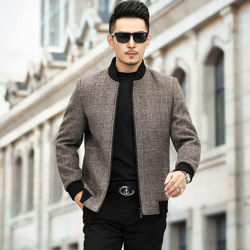 高档柒品牌阿玛季毛呢夹克男式韩版男生圆领外套男2021季节男装长