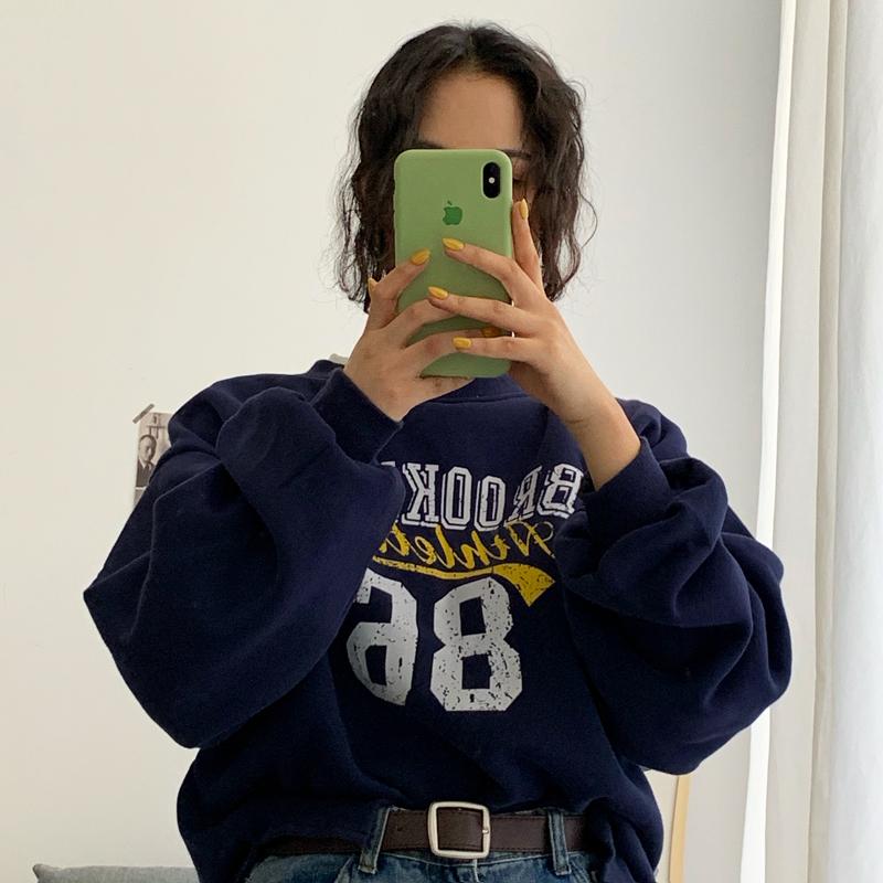 實拍【250克】冬季圓領衛衣女加絨寬松印花套頭假兩件上衣潮