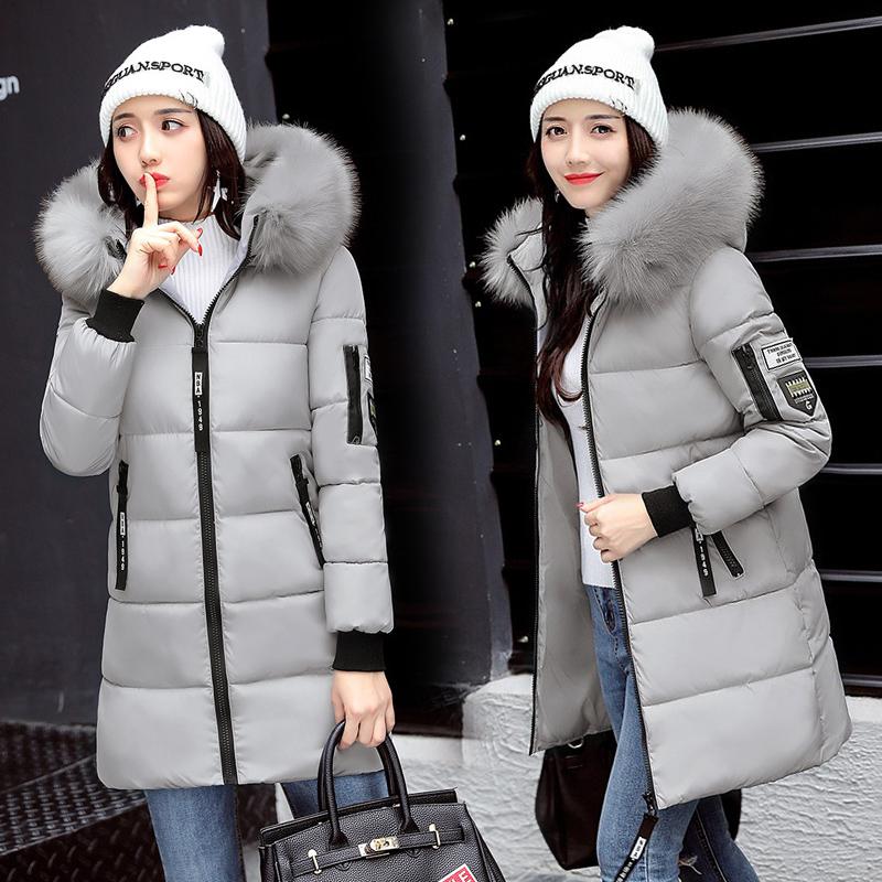 大量现货 可报大型活动 实拍2017秋冬棉服女韩版中长款修身大毛领