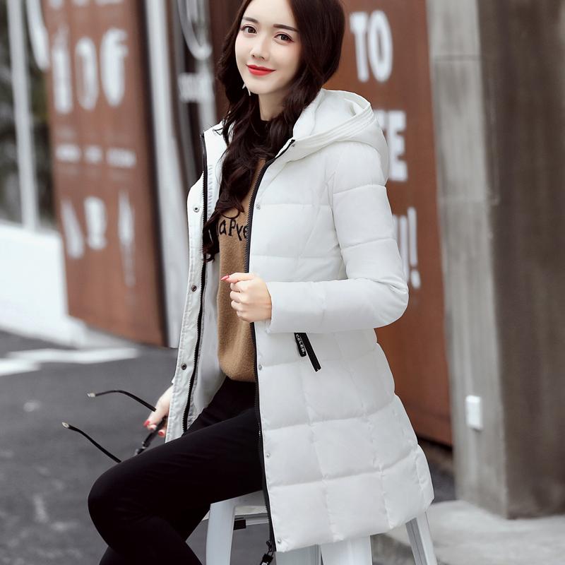 实拍2017冬装新款棉服女韩版中长款修身显瘦连帽时尚学生棉衣外套