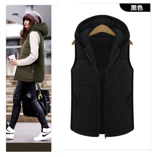 2020 mid autumn and winter cashmere cotton womens sleeveless knitted Hooded Vest Large fat mm vest coat