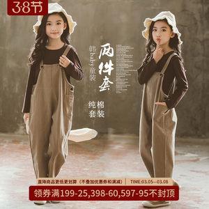 女童洋气背带裤春装2021新款中大儿童休闲吊带长裤小女孩宽松裤子