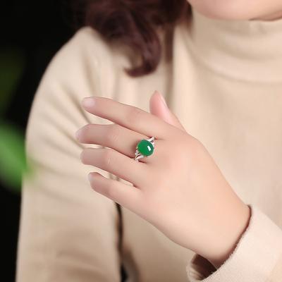 玉髓活口冰种翡翠925纯银戒指女款红宝石祖母绿菠菜石榴珍珠复古