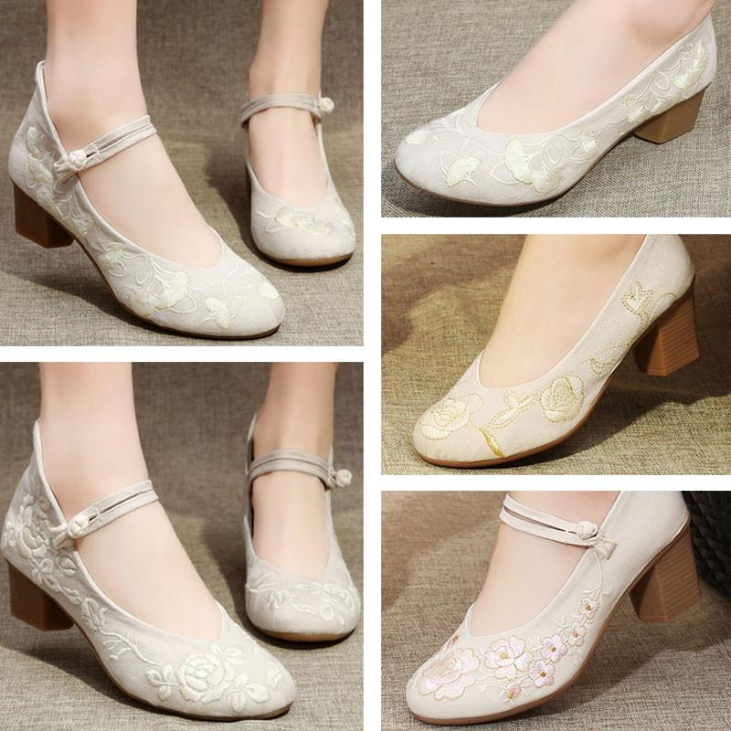 古风汉服鞋子女配旗袍的鞋复古中国风老北京高跟绣花布鞋中跟茶鞋