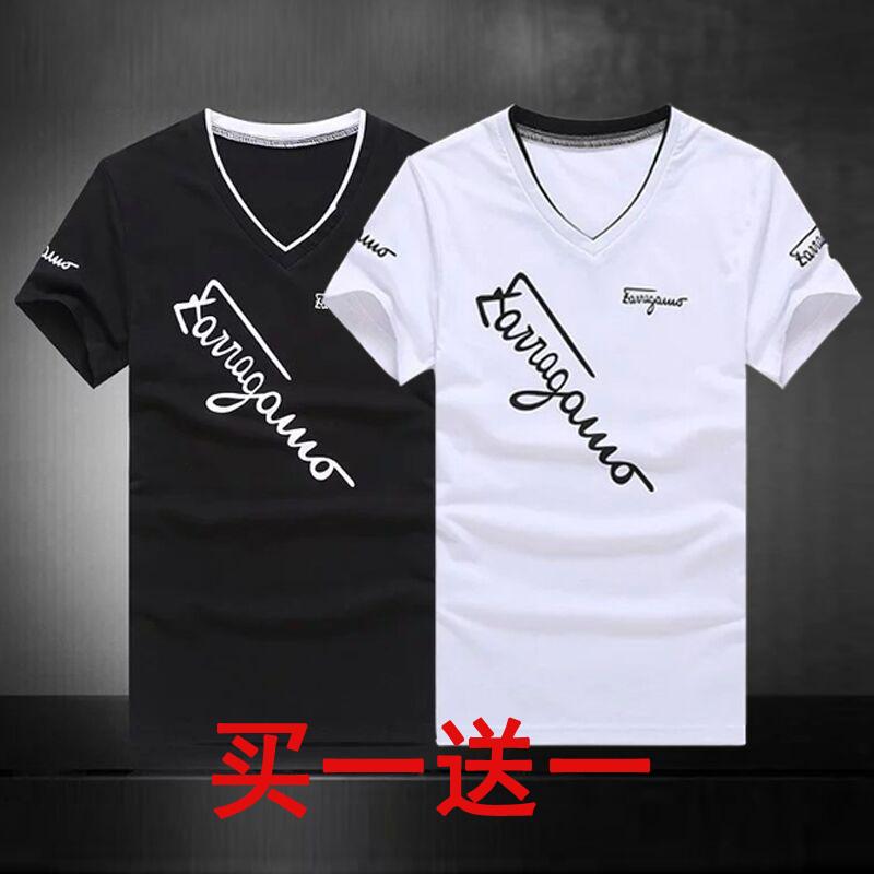 清仓夏季包邮9.9元九块九男装V领修身潮韩版T恤短袖9块9特价10元