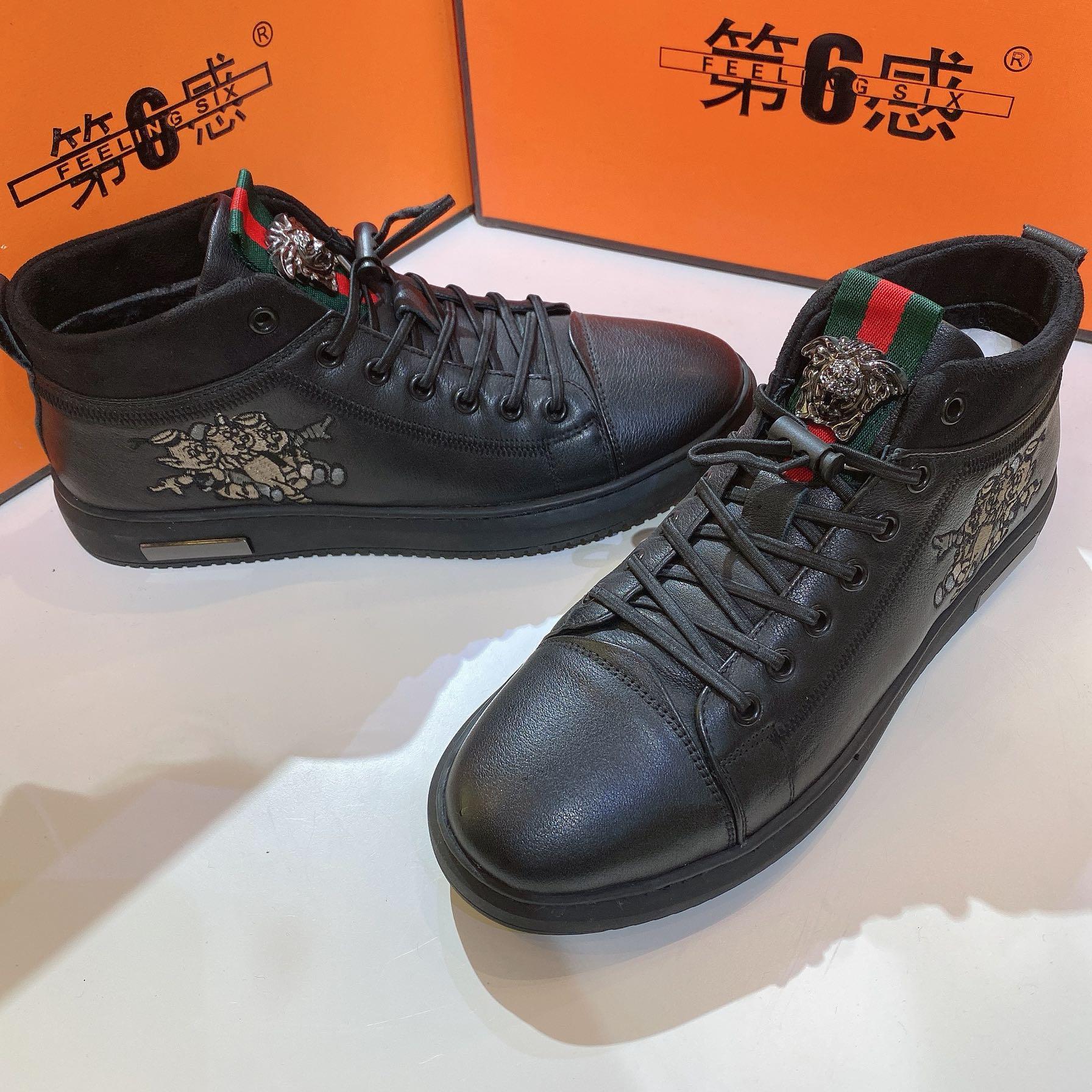 第六感男鞋2019新款秋季韩版潮流板鞋真皮黑色休闲鞋高帮鞋皮鞋男