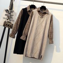 微胖特大码女装秋冬新款针织毛衣假两件打底衫显瘦减龄穿搭胖妹妹