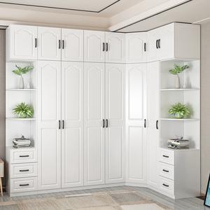 欧式整体衣柜卧室现代简约衣帽间定制北欧平开门组合衣柜转角拐柜